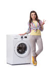 The woman  after doing laundry isolated on white. Woman  after doing laundry isolated on white Stock Photos