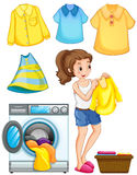 Woman doing laundry work. Illustration Stock Photos