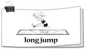 Woman doing long jump Stock Photo