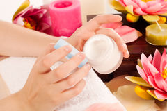 Woman doing manicure Stock Image