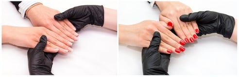 Woman doing manicure Stock Photo