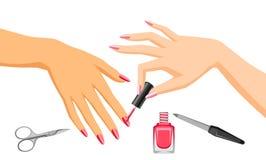 Woman is doing manicure. Illustration of female hand applying nail polish Stock Image