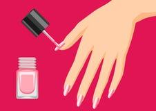 Woman is doing manicure. Illustration of female hand applying nail polish Stock Illustration