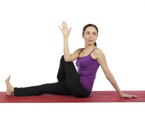 Woman doing Marichi's Pose in Yoga Royalty Free Stock Image