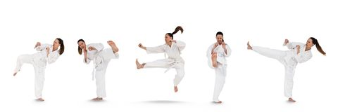 Woman doing martial arts collage Royalty Free Stock Image