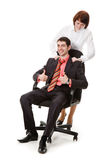 Woman doing massage young, smiling man. Woman doing massage young, smiling man, isolated on a white background Royalty Free Stock Image