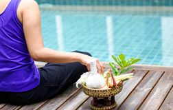 Woman doing meditad royalty free stock images