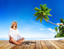 Woman doing Meditation with Nature Royalty Free Stock Photography