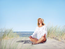Woman doing Meditation with Nature Stock Photos