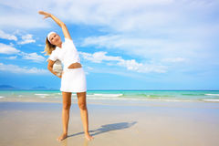 Woman doing morning exercises. Healthy lifestyle Stock Image