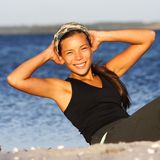 Woman doing outdoor exercise stock photos