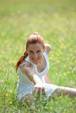 Woman doing physical exercise Royalty Free Stock Images