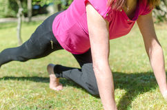 Woman doing physical exercises Royalty Free Stock Images