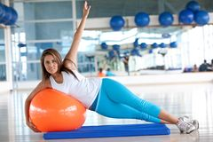 Woman doing pilates Royalty Free Stock Photography