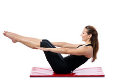 Woman doing Pilates training royalty free stock images