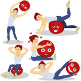 Woman doing pilates. Vector illustration of a woman doing pilates with emotional red ball Royalty Free Stock Images