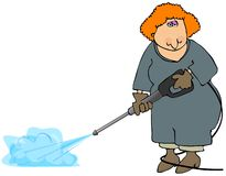 Woman Doing A Pressure Wash. This illustration depicts a woman using a pressure cleaner Stock Photo