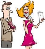 Woman doing proposal selfie cartoon vector illustration