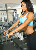 Woman Doing Pulling Bar. African american woman training or exercising in gym, doing hand pull for tricep. very slight noise on background area Royalty Free Stock Photos