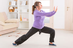 Woman doing qi gong tai chi exercise. Beautiful woman doing qi gong tai chi exercise at home royalty free stock photography