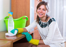 Woman doing regular housework and polishing. Positive woman doing regular housework and polishing furniture Stock Images