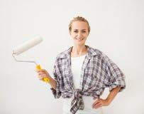 Woman doing repairs Royalty Free Stock Photo