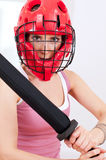 Woman doing self defence exercise Stock Image