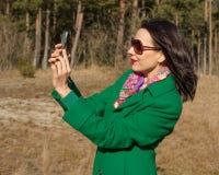 Woman doing selfie Outdoors Royalty Free Stock Photos