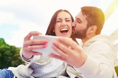 Woman doing selfie Stock Image