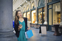 Woman is doing the shopping. In beautiful dress Royalty Free Stock Image