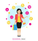 Woman doing shopping. Flat modern illustration of smiling woman doing shopping with commercial icons Stock Image