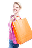 Woman doing shopping Stock Images