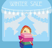 Woman doing the shopping in winter Royalty Free Stock Photos