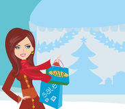 Woman doing the shopping in winter Stock Photo