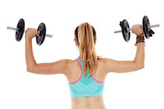 Woman doing shoulder workout Royalty Free Stock Photo