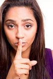 Woman doing shut up Royalty Free Stock Image