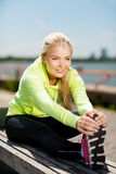 Woman doing sports outdoors Royalty Free Stock Images
