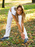 Woman doing sports outdoors Royalty Free Stock Photography