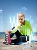 Woman doing sports outdoors Stock Photos