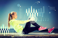 Woman doing sports outdoors. Sport and lifestyle concept - woman doing sports outdoors Royalty Free Stock Photography