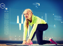Woman doing sports outdoors. Sport and lifestyle concept - woman doing sports outdoors Stock Photos