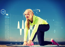 Woman doing sports outdoors. Sport and lifestyle concept - woman doing sports outdoors stock illustration