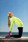 Woman doing sports outdoors Royalty Free Stock Image