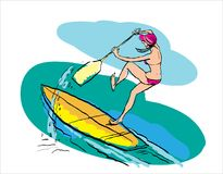 Woman doing Stand Up Paddling on Paddle Board on Water at Seaside. Stand Up Paddle Workout royalty free illustration