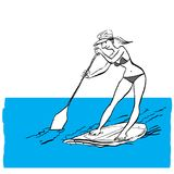 Woman doing Stand Up Paddling on Paddle Board on Water at Seaside. Stand Up Paddle Workout vector illustration