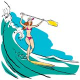 Woman doing Stand Up Paddling on Paddle Board on Water at Seaside. Stand Up Paddle Workout stock illustration