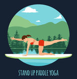 Woman doing Stand Up Paddling Yoga on Paddle Board on Water at lake Mountain landscape Stand Up Paddle Yoga Workout Stock Photos
