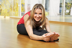 Woman doing stretching Royalty Free Stock Image