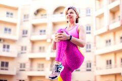Free Woman Doing Stretching Exercise Outdoor. People, Healthcare And Lifestyle Concept Stock Photography - 184727802
