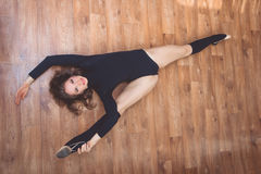 Woman doing stretching exercise, view from above Stock Image